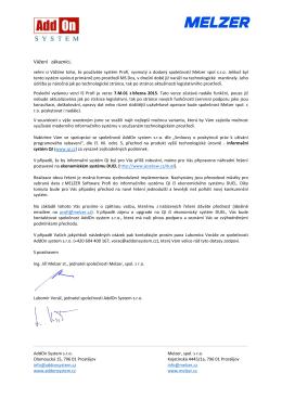 Dopis určený pro zákazníky MELZER Software Profi ohledně
