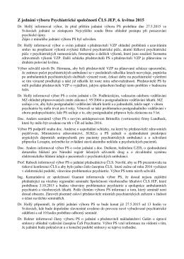 Z jednání výboru Psychiatrické společnosti ČLS JEP