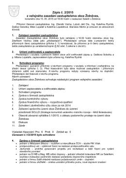 Zápis č. 2/2015 z veřejného zasedání zastupitelstva obce Židněves,