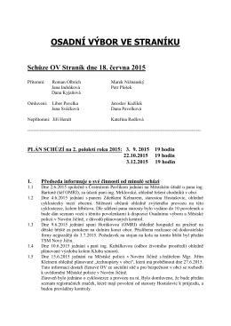 Schůze OV 18.6.2015
