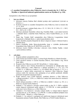 Usnesení z 3. zasedání Zastupitelstva obce Palkovice, které se