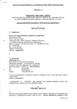 Smlouva o dílo č. 3/2015 - Domov pro seniory Bukov