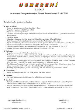 Usnesení č. 3/2015 ze zasedání Zastupitelstva obce