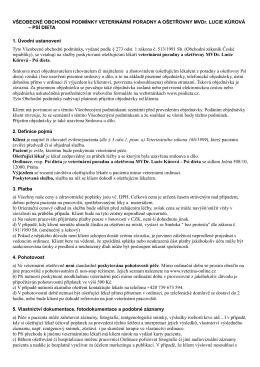 Obchodní podmínky Veterinární poradny a ošetřovny