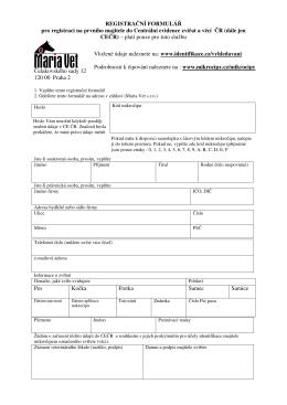 REGISTRAČNÍ FORMULÁŘ pro registraci na prvního majitele do