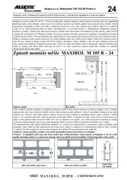 Způsob montáže mříže MAXIROL M 105 R – 24