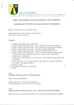Zápis z mimořádného zasedání zastupitelstva obce Vlastibořice