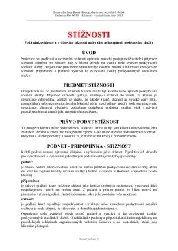 Stížnosti - Domov Barbora Kutná Hora, poskytovatel sociálních služeb