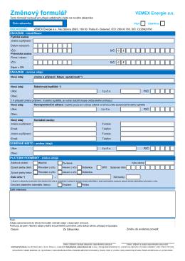 Změnový formulář - Vemex Energie as