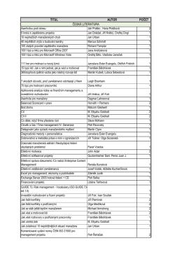 Seznam knih - Společnost pro projektové řízení