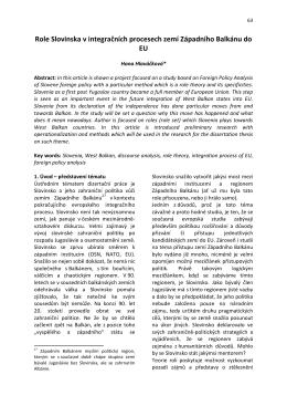 Role Slovinska v integračních procesech zemí Západního Balkánu