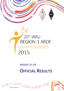 official results - 20th IARU Region 1 ARDF Championships 2015 is