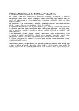 Záměry a požadavky investorů a vlastníků