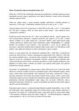 Dotaz týkající se povinnosti úpravy stávajících stanov SVJ.