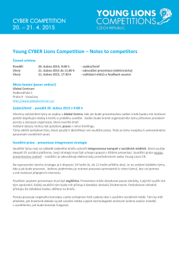 21. 4. 2015 Young CYBER Lions Competition – Notes to competitors