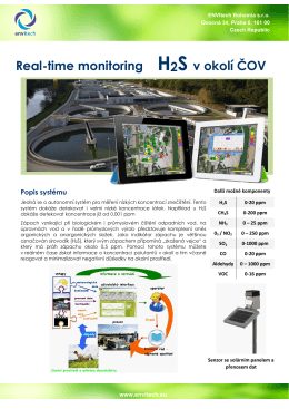 Real-time monitoring H2S v okolí ČOV