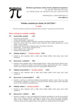 Nabídka seminářů pro 3. ročník 2015/2016