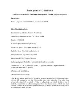 Školní plán EVVO 2015/2016 Základní škola praktická a Základní