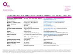 Seznam autorek a autorů stínové zprávy s kontakty