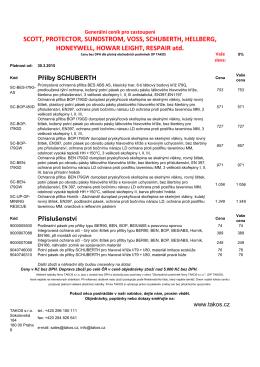 Generální ceník Schuberth platný od 30.03.2015