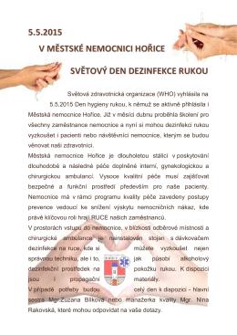 5.5.2015 v městské nemocnici hořice světový den dezinfekce rukou
