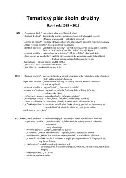 TEMATICKÝ PLÁN ŠKOLNÍ DRUŽINY pro 2015/16