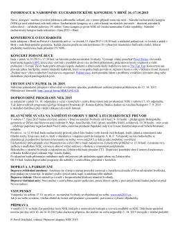 Informace k NEK 2015 v pdf. - Národní eucharistický kongres 2015