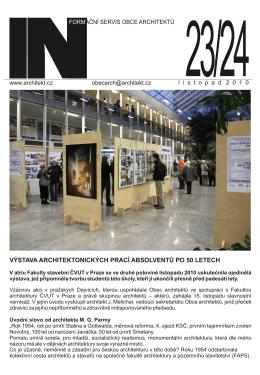 výstava architektonických prací absolventů po 50 letech