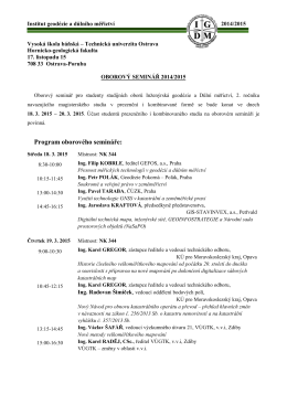 Oborový seminář 2015 - IGDM - Vysoká škola báňská