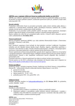 ARPOK, o.p.s. vypisuje výběrové řízení na auditorské služby za rok