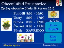 Obecní úřad Prusinovice Aktuální zprávy Strana číslo: 23 Vysílání