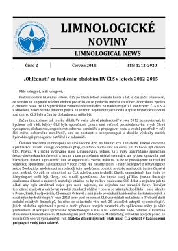 Limnologické noviny č. 2/2015 - Česká limnologická společnost