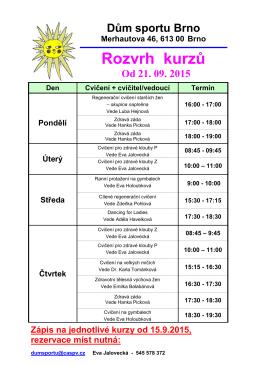 Rozvrh tělocvičny od 21.9.2015