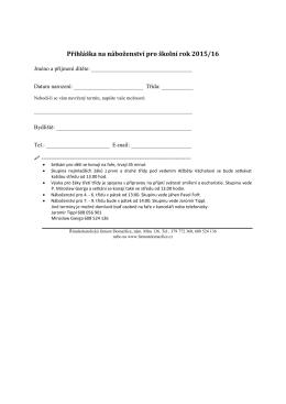 Přihláška na náboženství pro školní rok 2008/09