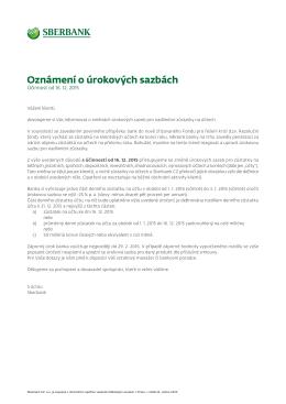Oznámení - Sberbank