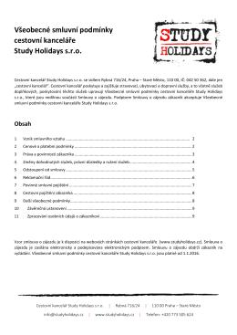 Všeobecné smluvní podmínky cestovní kanceláře Study Holidays s.r.o.