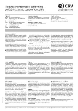 Pojistné podmínky ERV pojišťovny, a.s. 2016