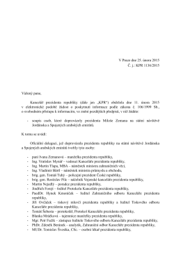 Odpověď podle zákona č. 106/1999 Sb. Č.j. KPR 1136/2015