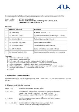 Zápis ze zasedání předsednictva APUA 27.5.2015