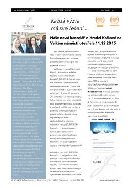Newsletter 12/2015 - Advokátní kancelář JELÍNEK