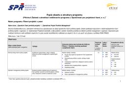 Popis obsahu a struktury programu - Společnost pro projektové řízení