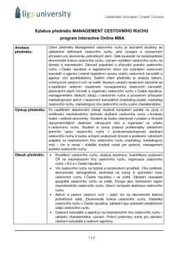 Sylabus předmětu MANAGEMENT CESTOVNÍHO RUCHU program