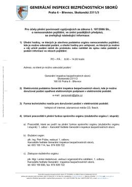 Pro účely plnění povinností vyplývajících ze zákona č. 187