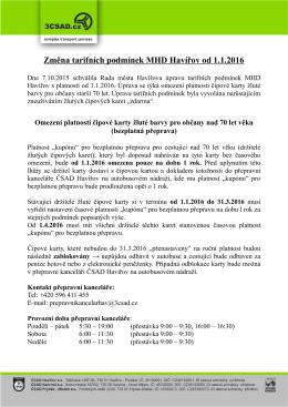 Změna tarifních podmínek MHD Havířov od 1.1.2016