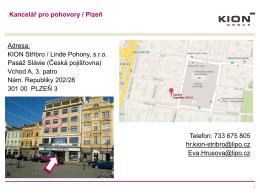 Adresa kanceláře pro pohovory v Plzni + mapa