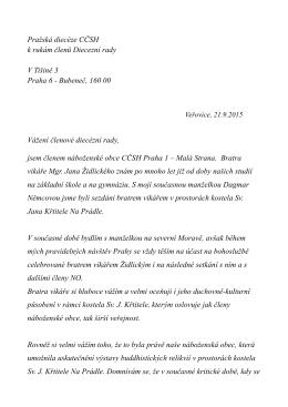 Pražská diecéze CČSH k rukám členů Diecezní rady V Tišině 3