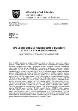 Společné ÚR a SP Modernizace farmy Násedlovice