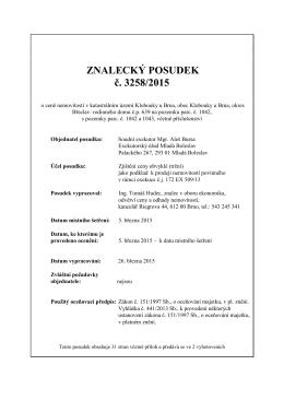 ZNALECKÝ POSUDEK č. 3258/2015