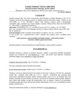 EXEKUTORSKÝ ÚŘAD CHRUDIM USNESENÍ www.okdrazby.cz