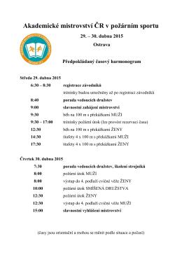 Akademické mistrovství ČR v požárním sportu 29. – 30. dubna 2015